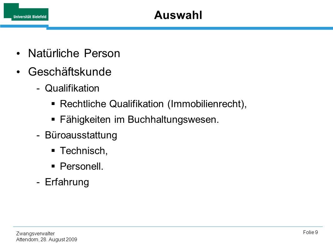 Auswahl Natürliche Person Geschäftskunde Qualifikation