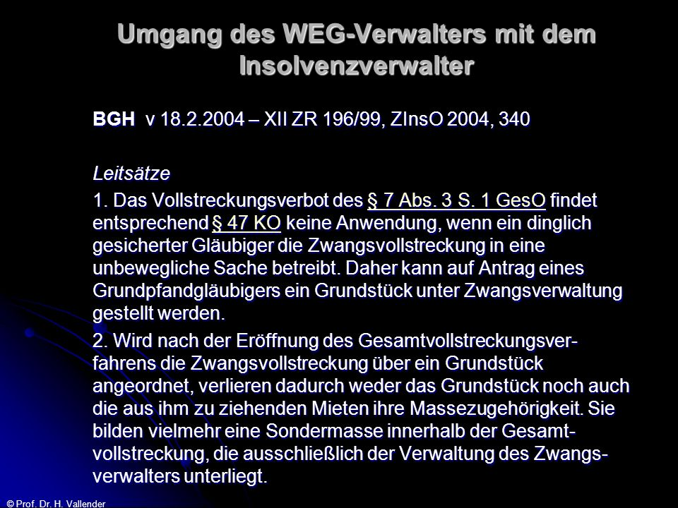 Umgang des WEG-Verwalters mit dem Insolvenzverwalter