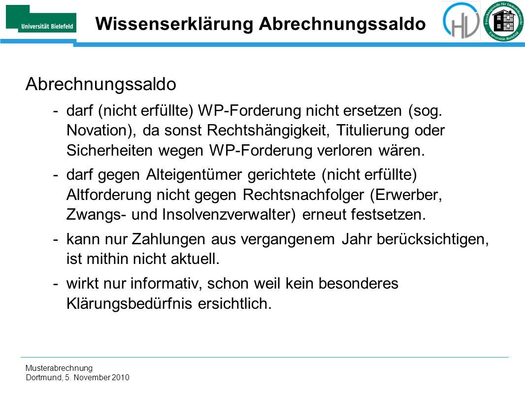 Wissenserklärung Abrechnungssaldo