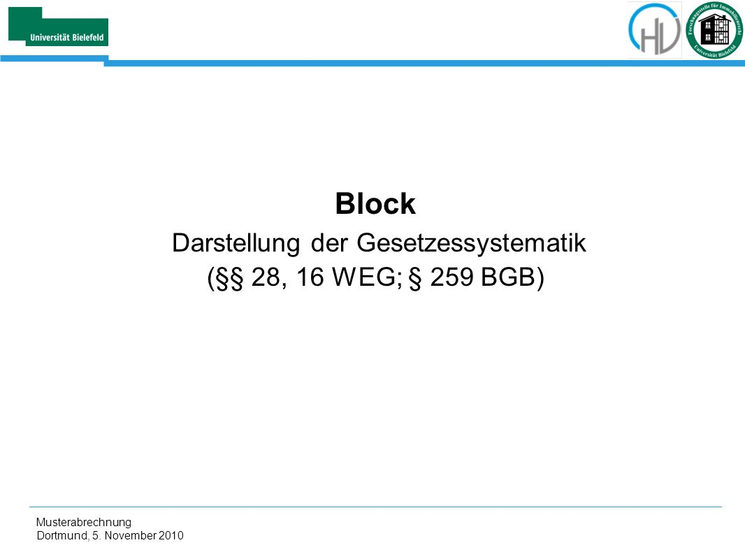 Block Darstellung der Gesetzessystematik (§§ 28, 16 WEG; § 259 BGB)