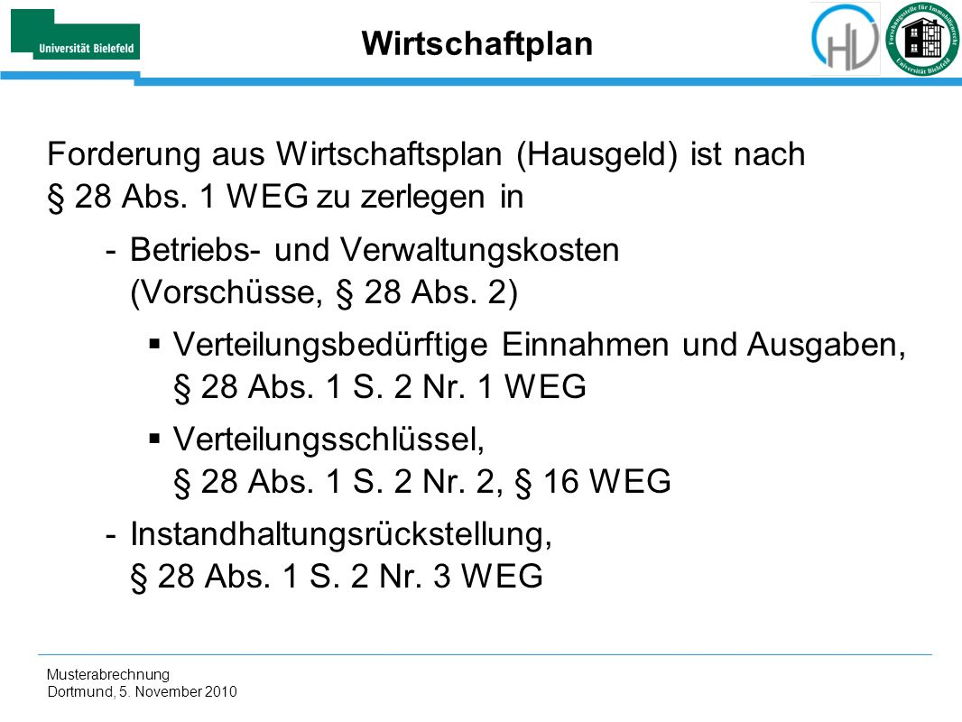 Betriebs- und Verwaltungskosten (Vorschüsse, § 28 Abs. 2)