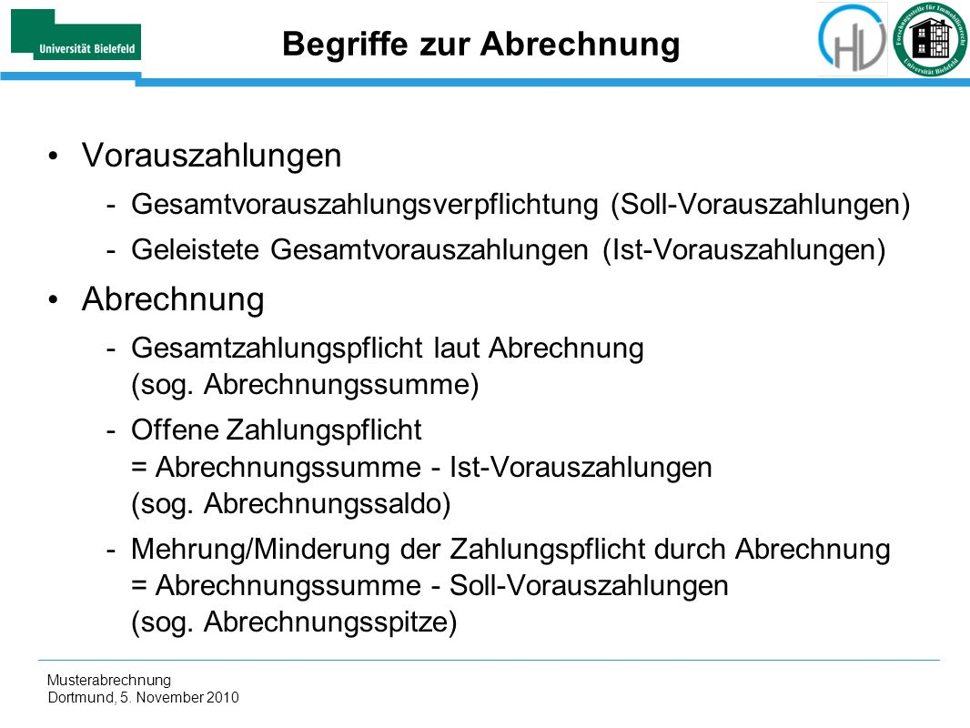 Begriffe zur Abrechnung