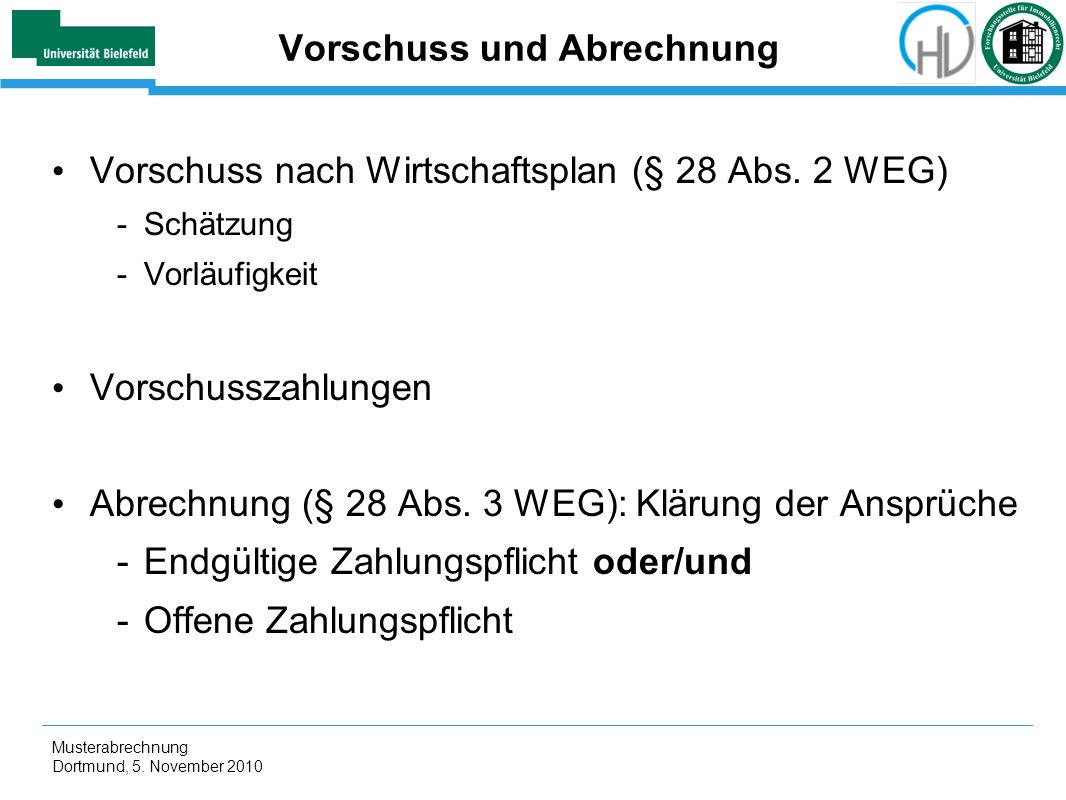 Vorschuss und Abrechnung