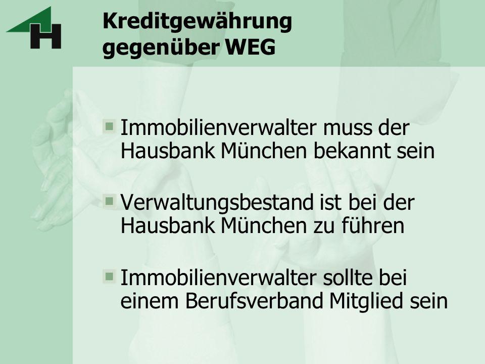 Kreditgewährung gegenüber WEG