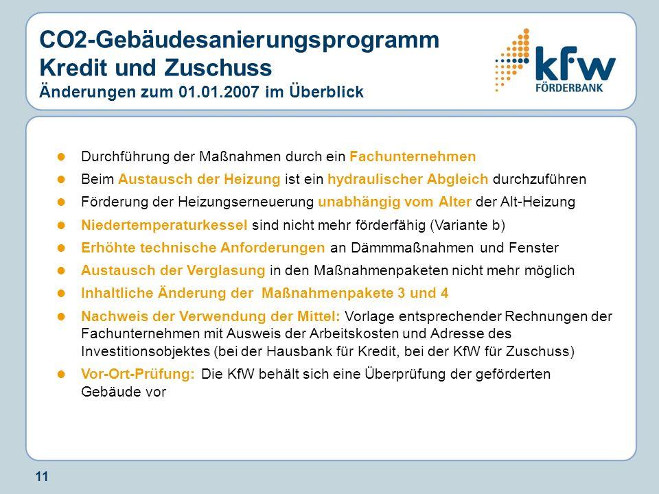 CO2-Gebäudesanierungsprogramm Kredit und Zuschuss Änderungen zum 01.01.2007 im Überblick