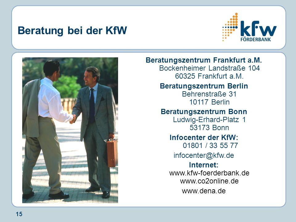 Beratung bei der KfW Beratungszentrum Frankfurt a.M. Bockenheimer Landstraße 104 60325 Frankfurt a.M.