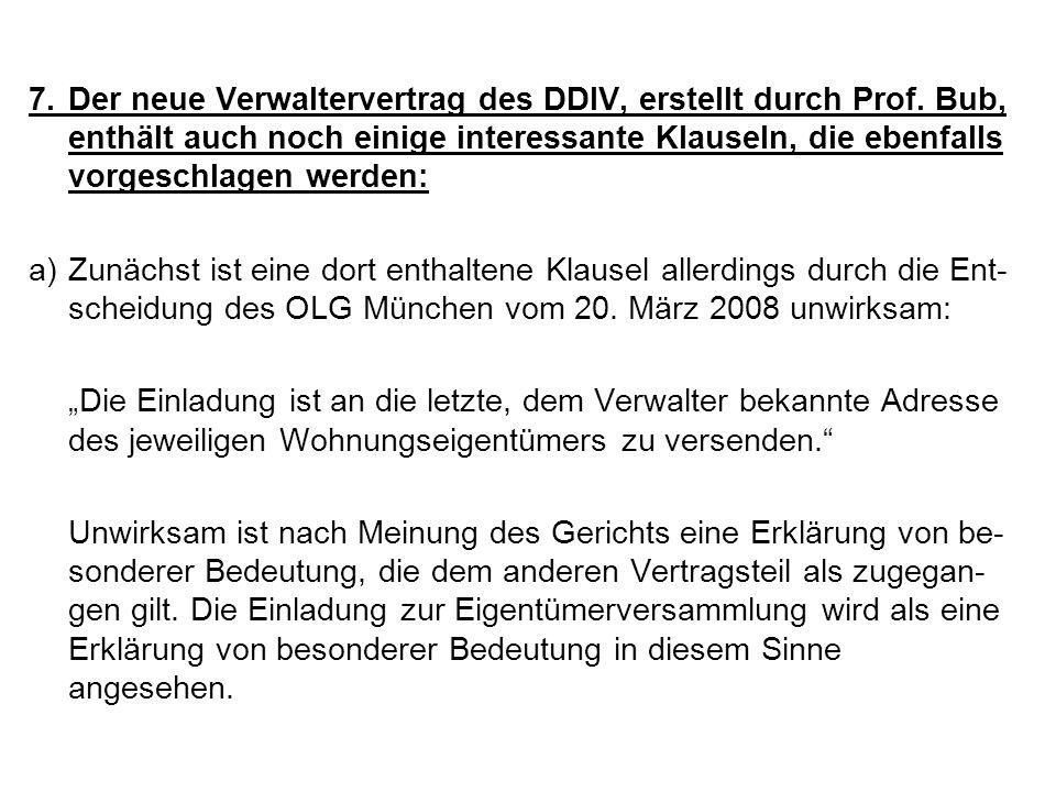 7. Der neue Verwaltervertrag des DDIV, erstellt durch Prof
