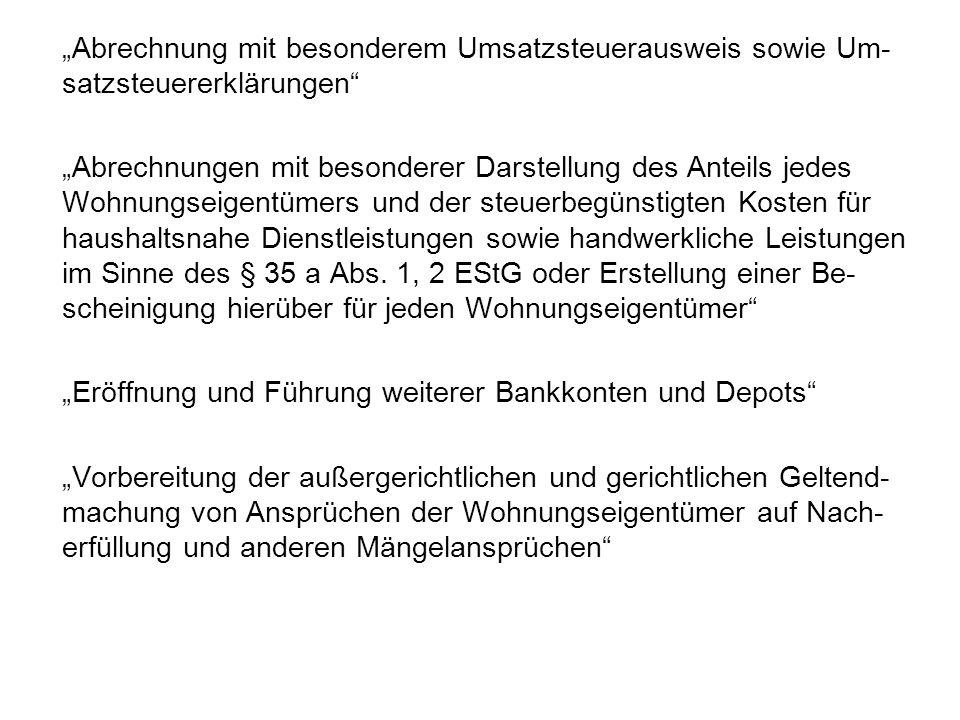 """""""Abrechnung mit besonderem Umsatzsteuerausweis sowie Um-satzsteuererklärungen"""