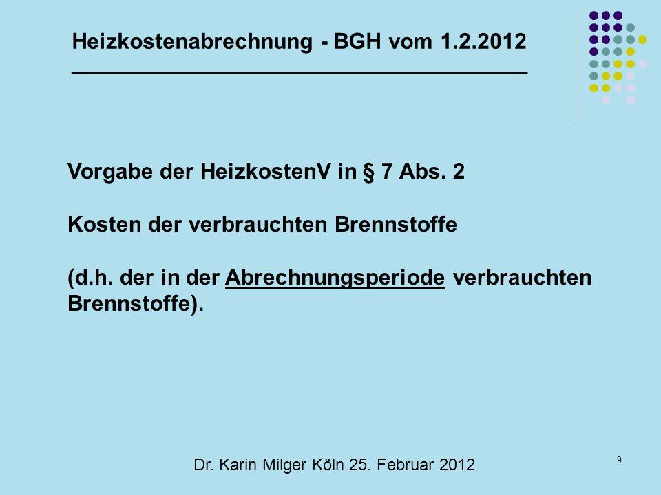 Heizkostenabrechnung - BGH vom 1.2.2012