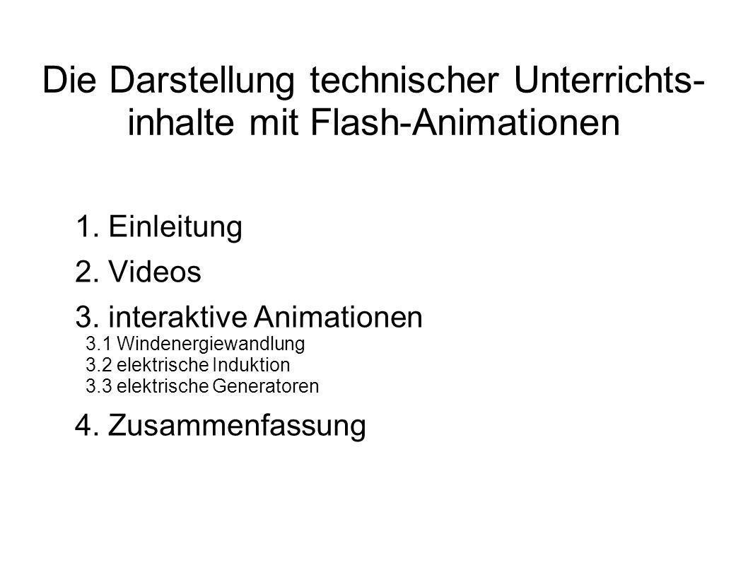 Die Darstellung technischer Unterrichts-inhalte mit Flash-Animationen