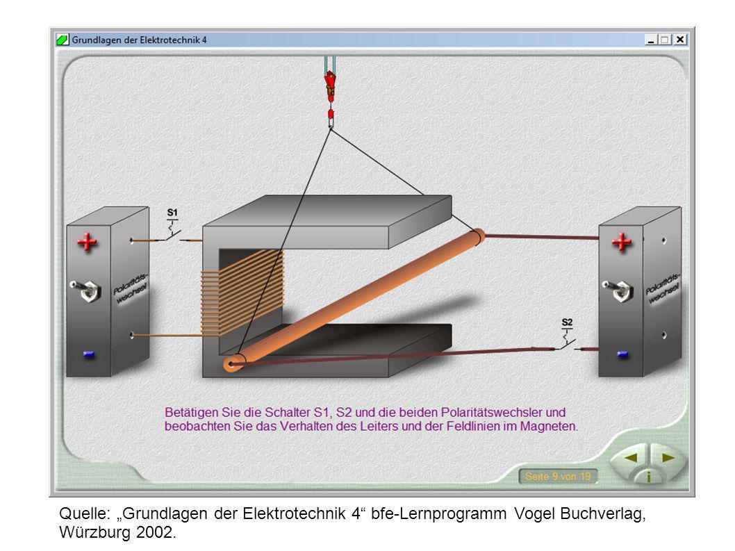 """Quelle: """"Grundlagen der Elektrotechnik 4 bfe-Lernprogramm Vogel Buchverlag, Würzburg 2002."""