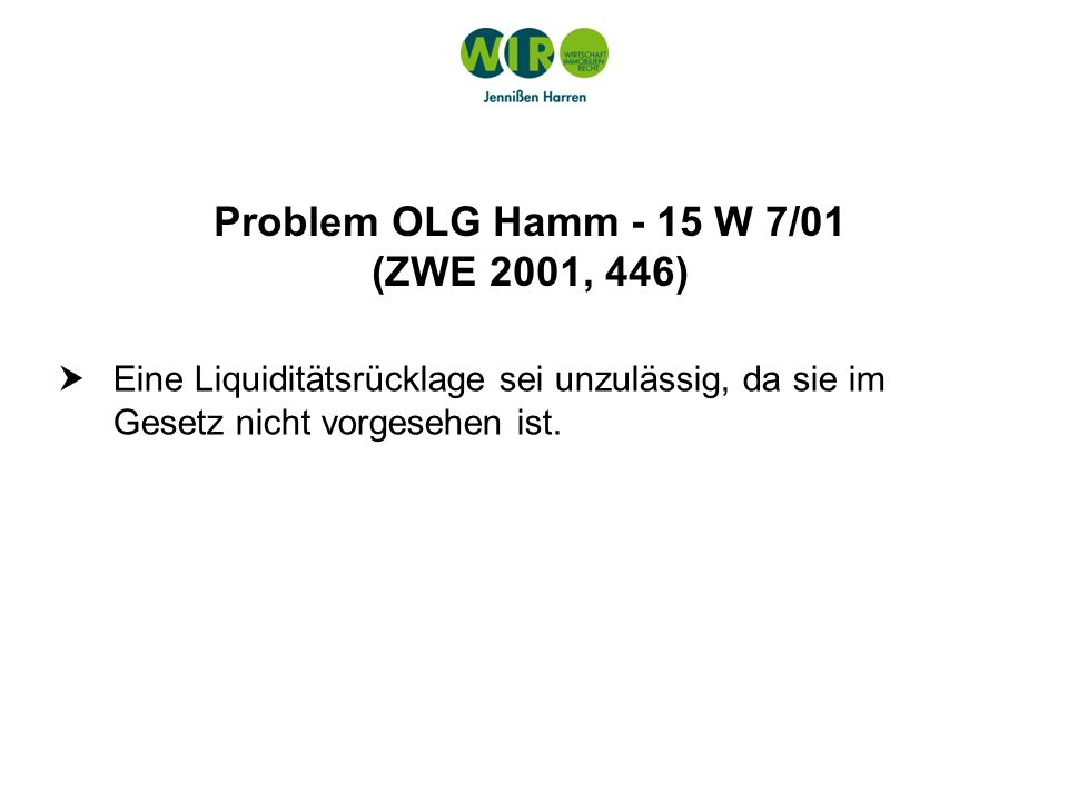 Problem OLG Hamm - 15 W 7/01 (ZWE 2001, 446)