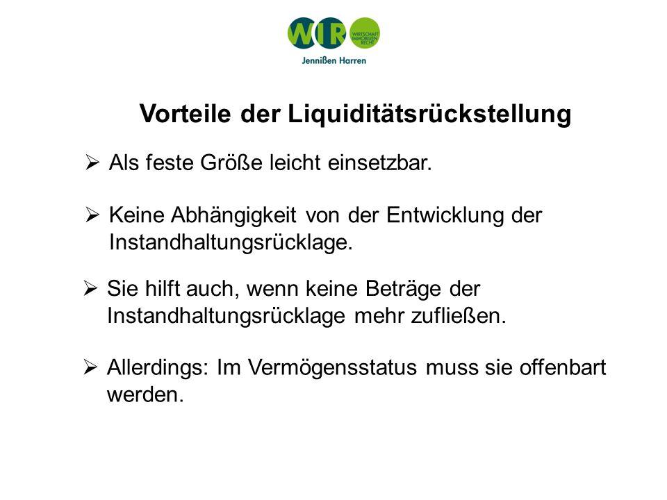 Vorteile der Liquiditätsrückstellung