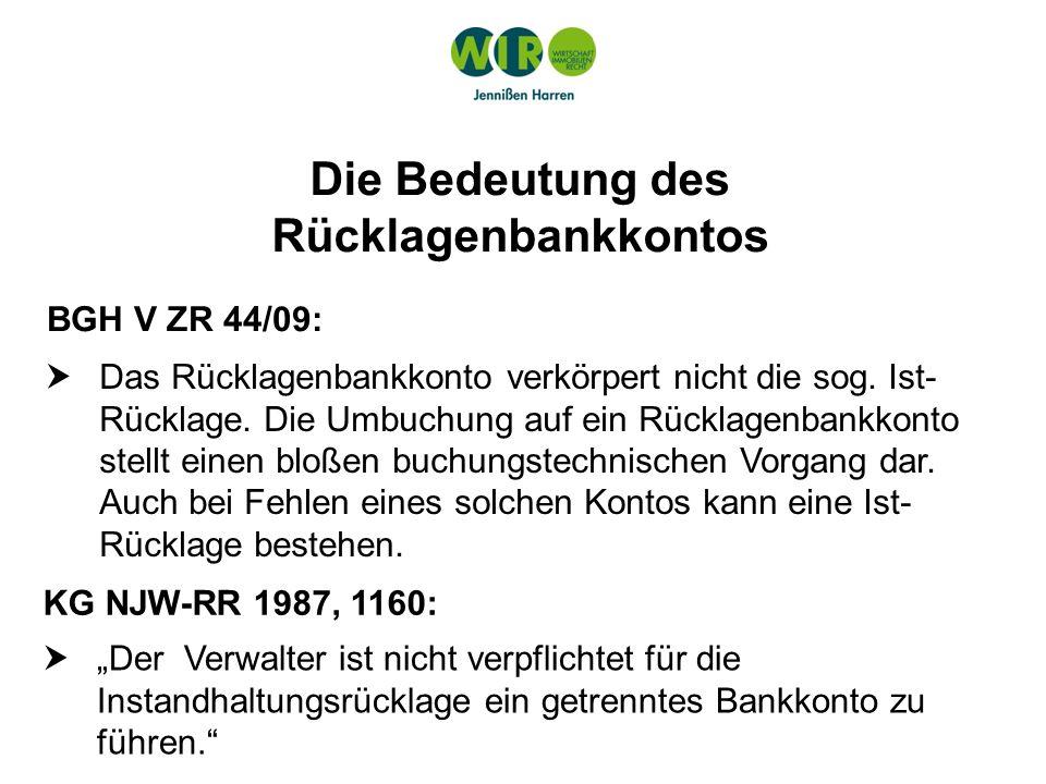 Die Bedeutung des Rücklagenbankkontos