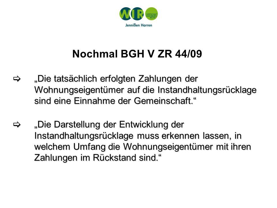 Nochmal BGH V ZR 44/09