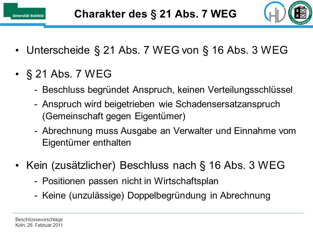 Unterscheide § 21 Abs. 7 WEG von § 16 Abs. 3 WEG § 21 Abs. 7 WEG