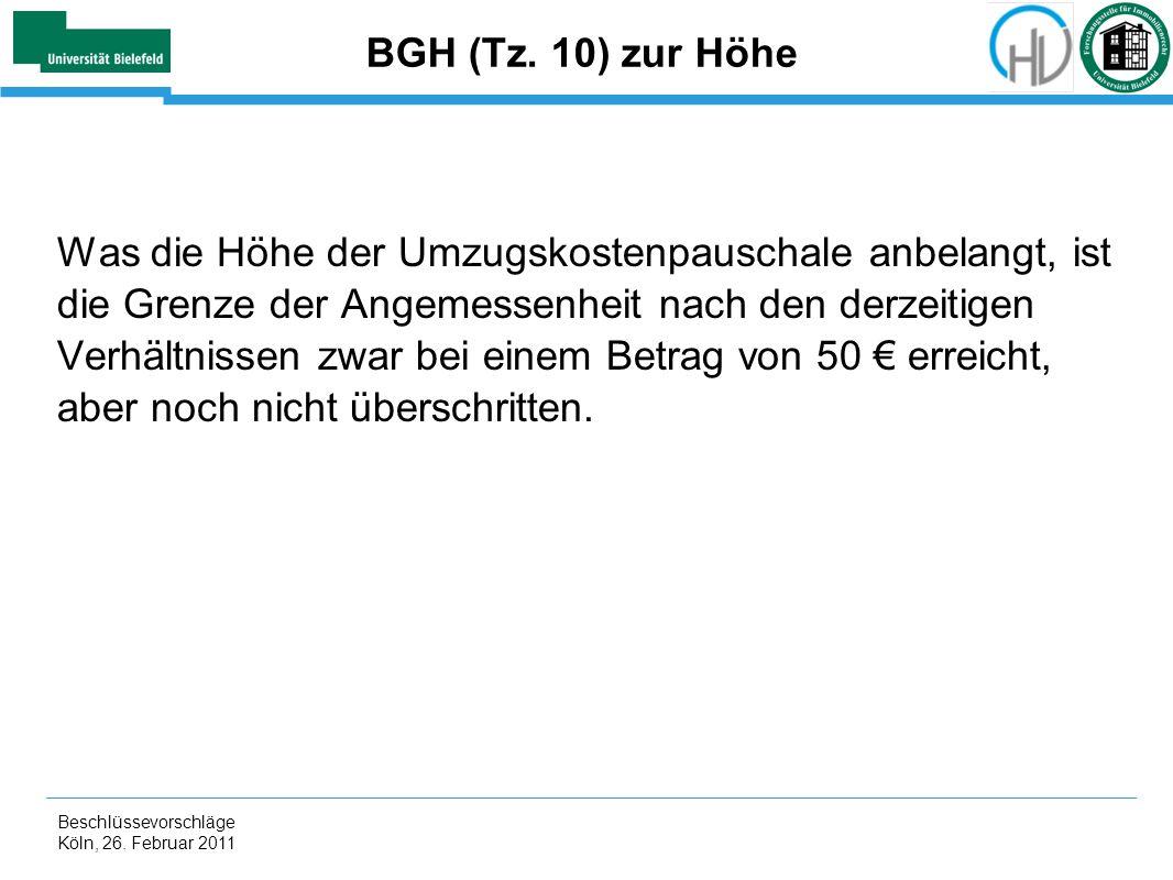 BGH (Tz. 10) zur Höhe