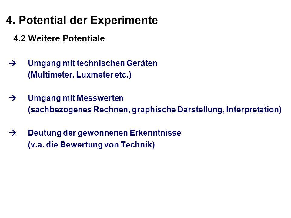 4. Potential der Experimente