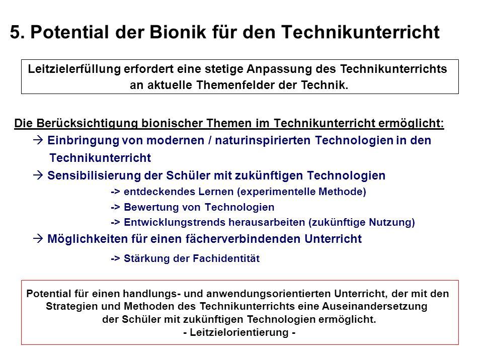 5. Potential der Bionik für den Technikunterricht