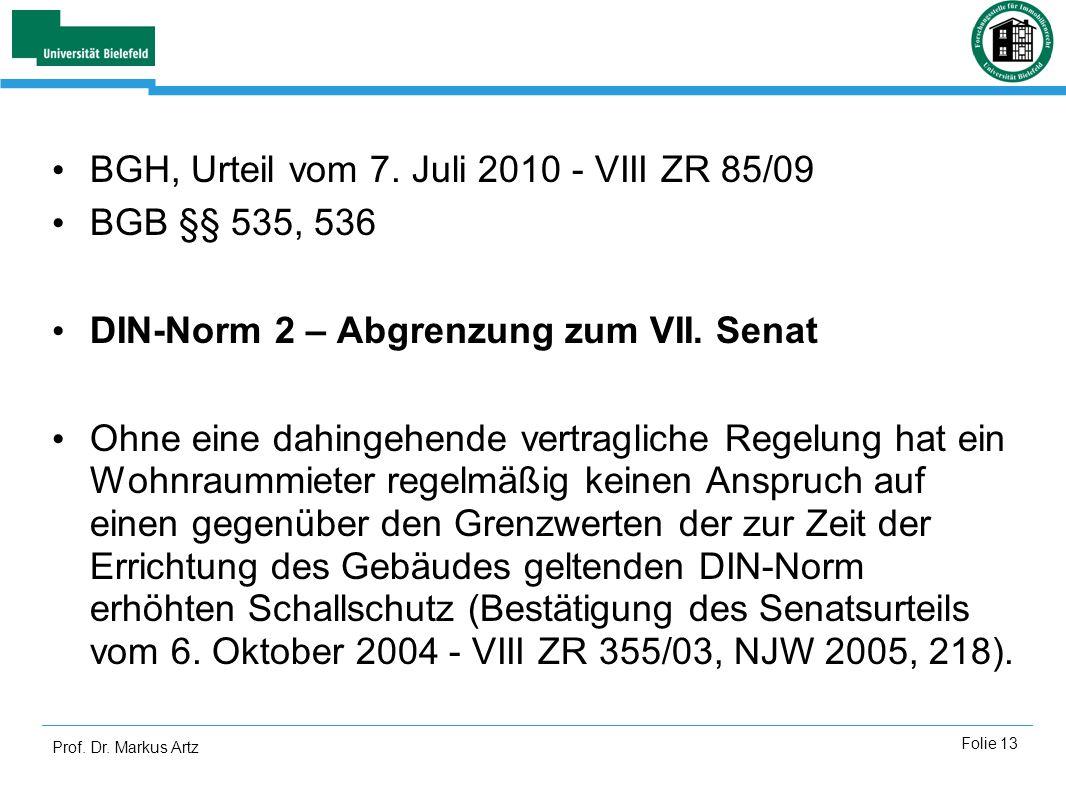 BGH, Urteil vom 7. Juli 2010 - VIII ZR 85/09 BGB §§ 535, 536