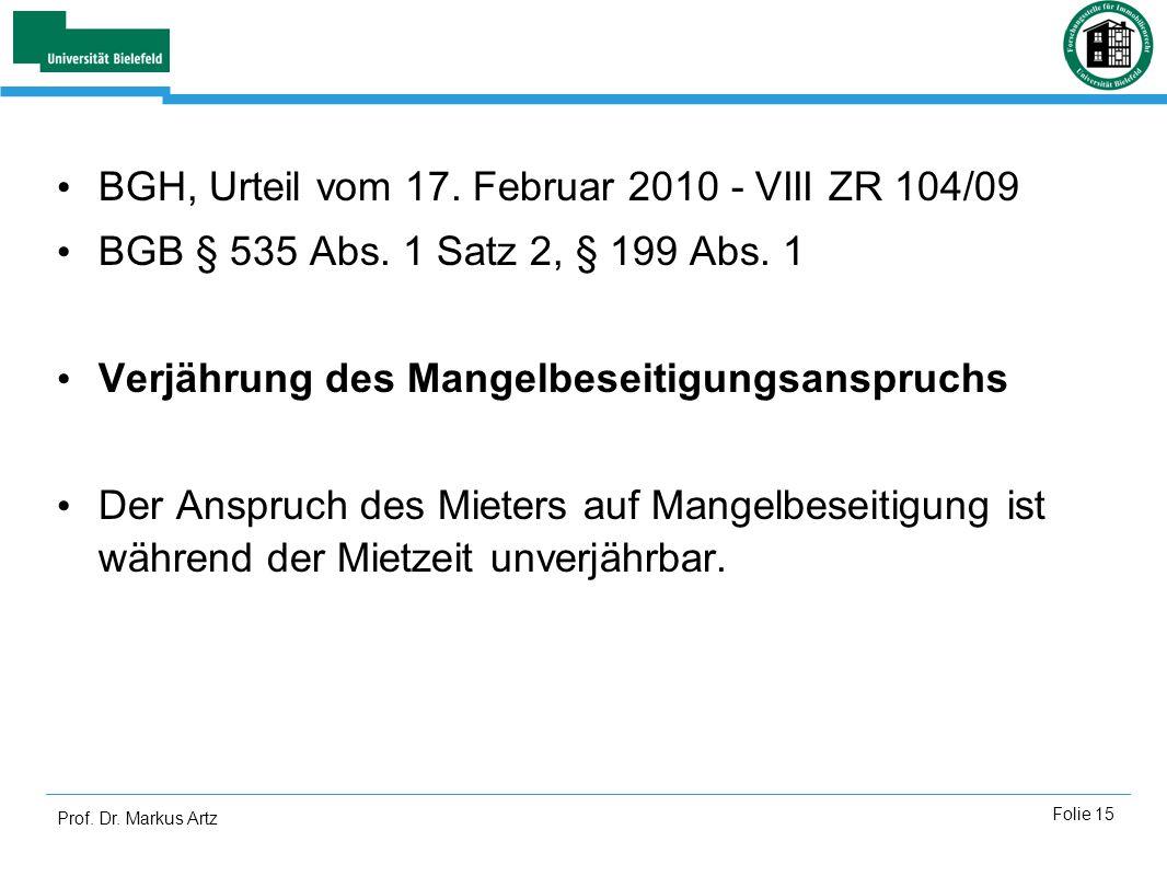 BGH, Urteil vom 17. Februar 2010 - VIII ZR 104/09