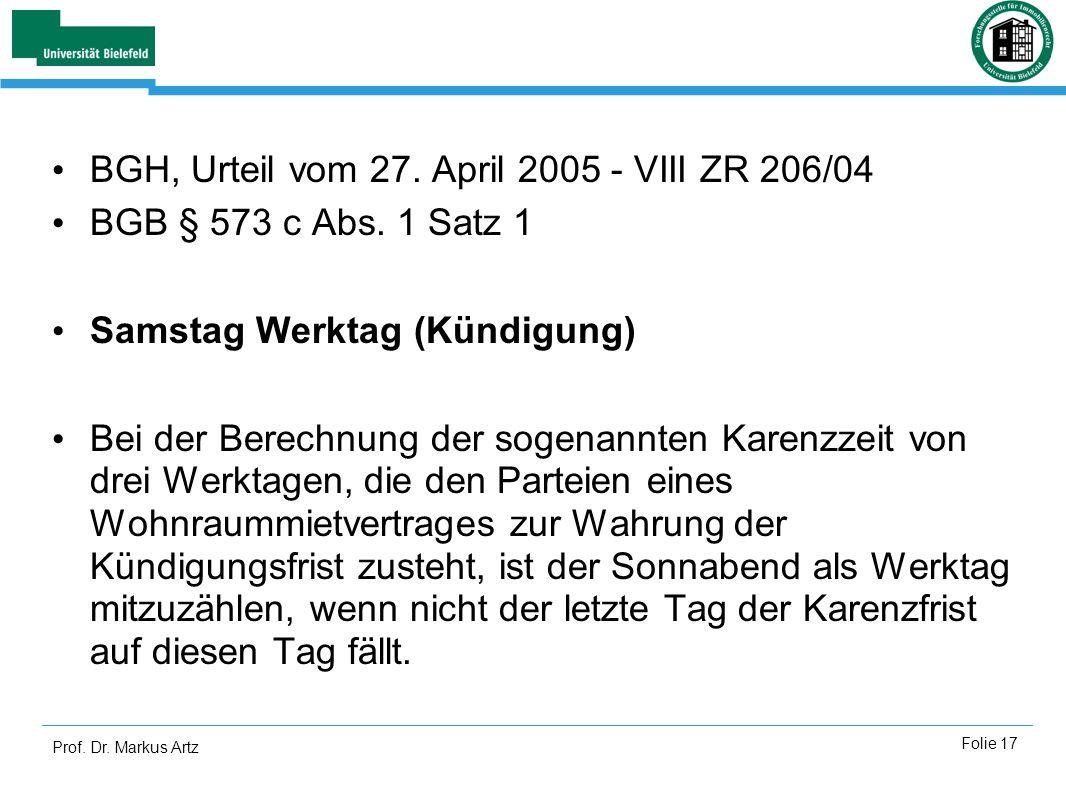 BGH, Urteil vom 27. April 2005 - VIII ZR 206/04