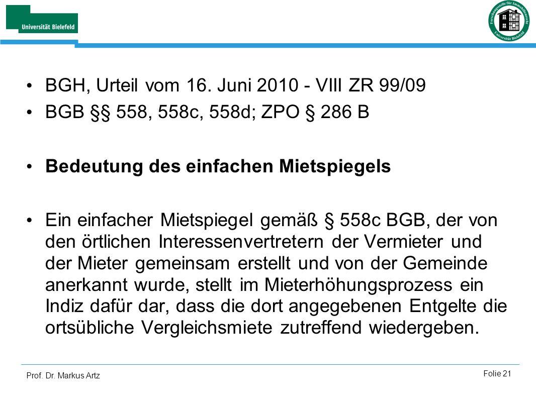 BGH, Urteil vom 16. Juni 2010 - VIII ZR 99/09
