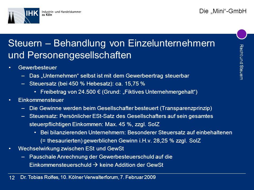 Steuern – Behandlung von Einzelunternehmern und Personengesellschaften