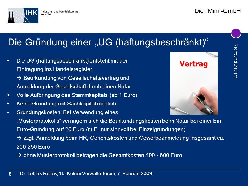 """Die Gründung einer """"UG (haftungsbeschränkt)"""