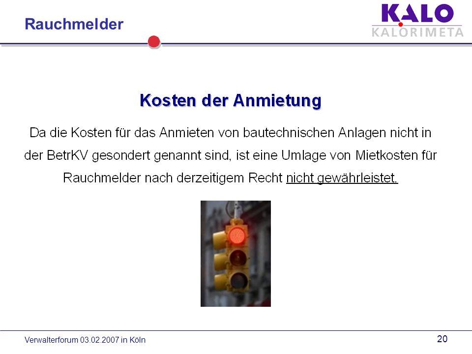 Rauchmelder Verwalterforum 03.02.2007 in Köln