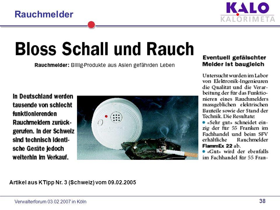 Rauchmelder Artikel aus KTipp Nr. 3 (Schweiz) vom 09.02.2005