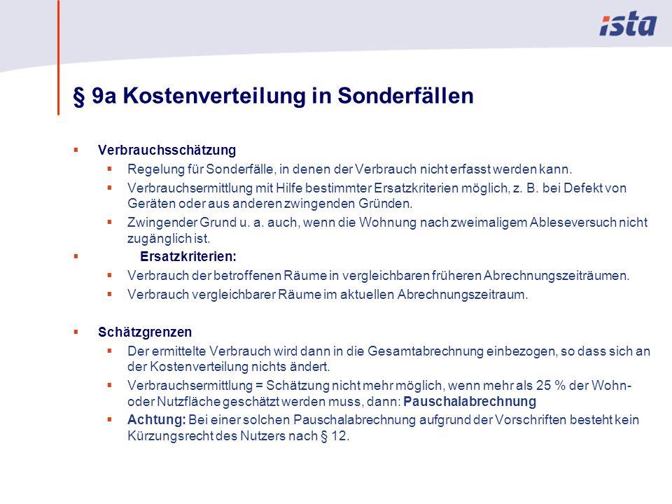 § 9a Kostenverteilung in Sonderfällen