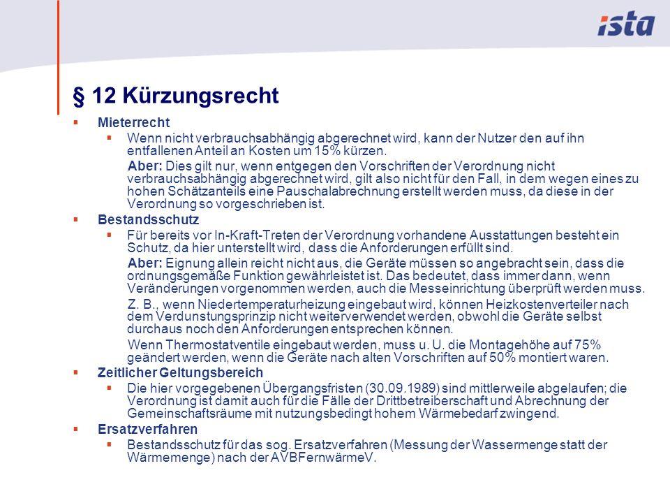 § 12 Kürzungsrecht Mieterrecht