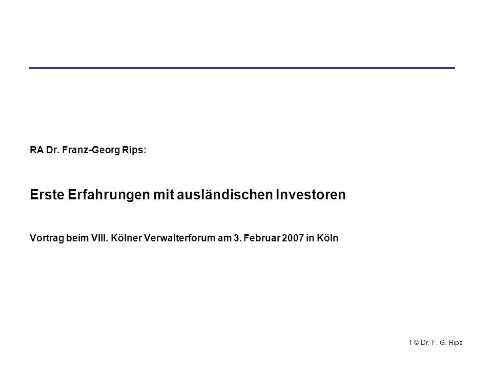 Erste Erfahrungen mit ausländischen Investoren