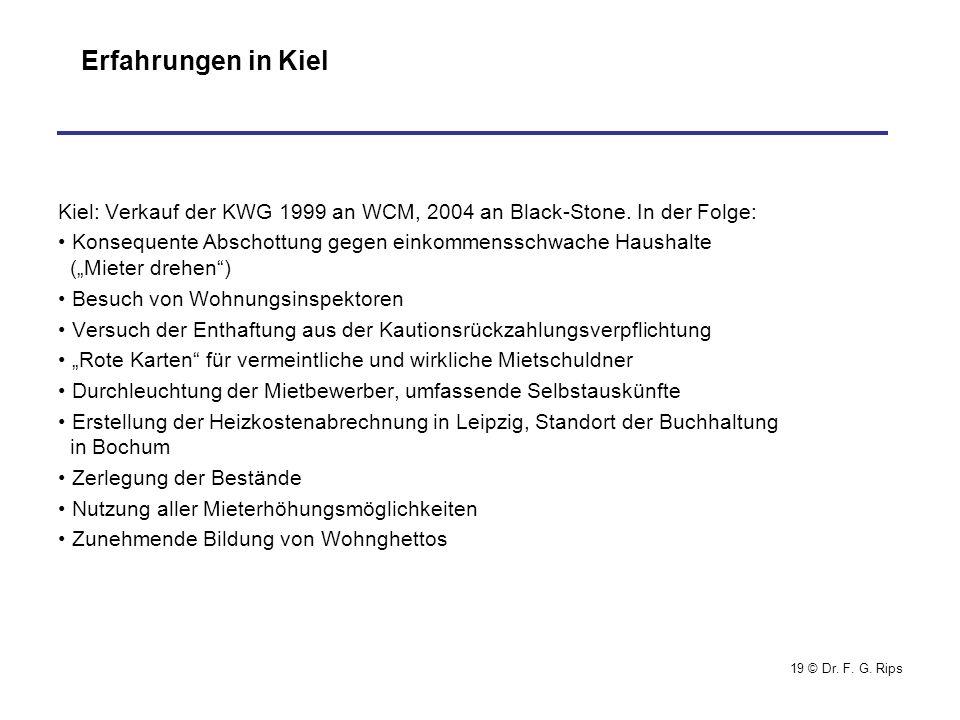 Erfahrungen in Kiel Kiel: Verkauf der KWG 1999 an WCM, 2004 an Black-Stone. In der Folge: