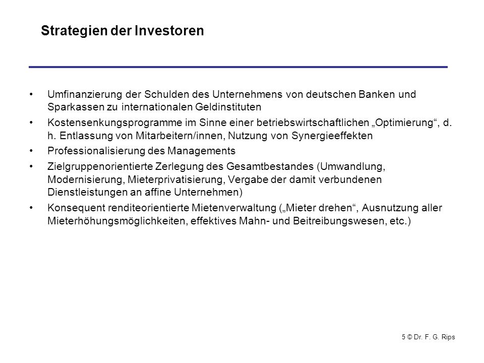 Strategien der Investoren