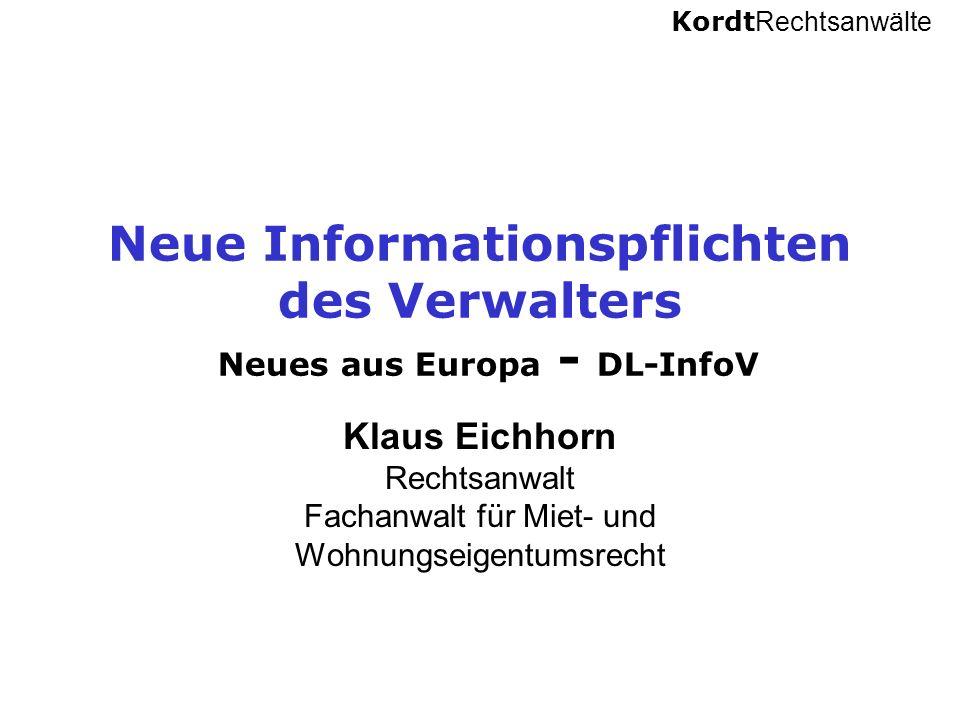 Neue Informationspflichten des Verwalters Neues aus Europa - DL-InfoV