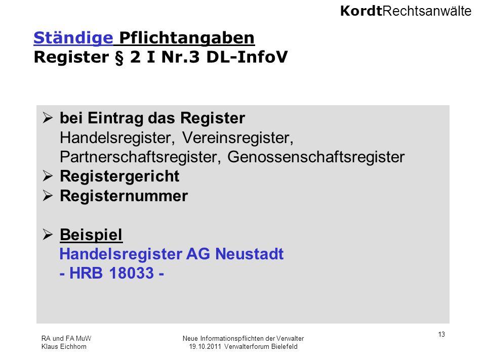 Ständige Pflichtangaben Register § 2 I Nr.3 DL-InfoV