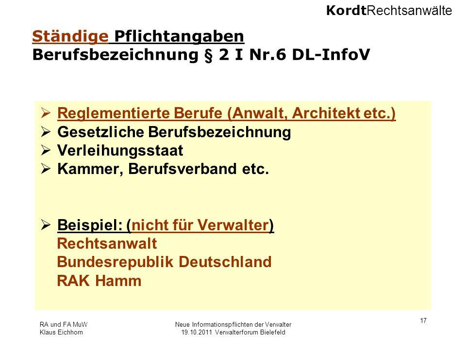 Ständige Pflichtangaben Berufsbezeichnung § 2 I Nr.6 DL-InfoV