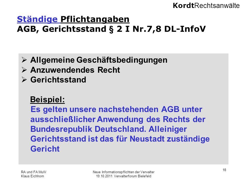 Ständige Pflichtangaben AGB, Gerichtsstand § 2 I Nr.7,8 DL-InfoV
