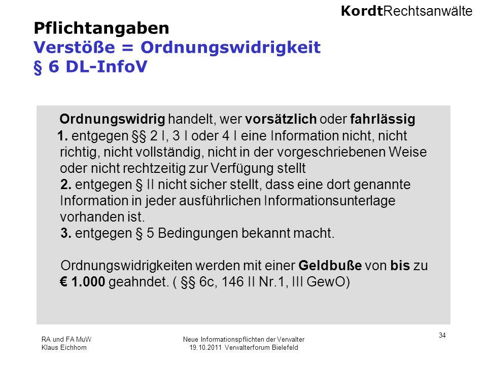 Pflichtangaben Verstöße = Ordnungswidrigkeit § 6 DL-InfoV
