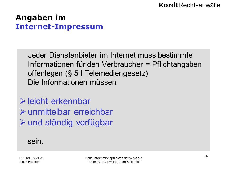 Angaben im Internet-Impressum