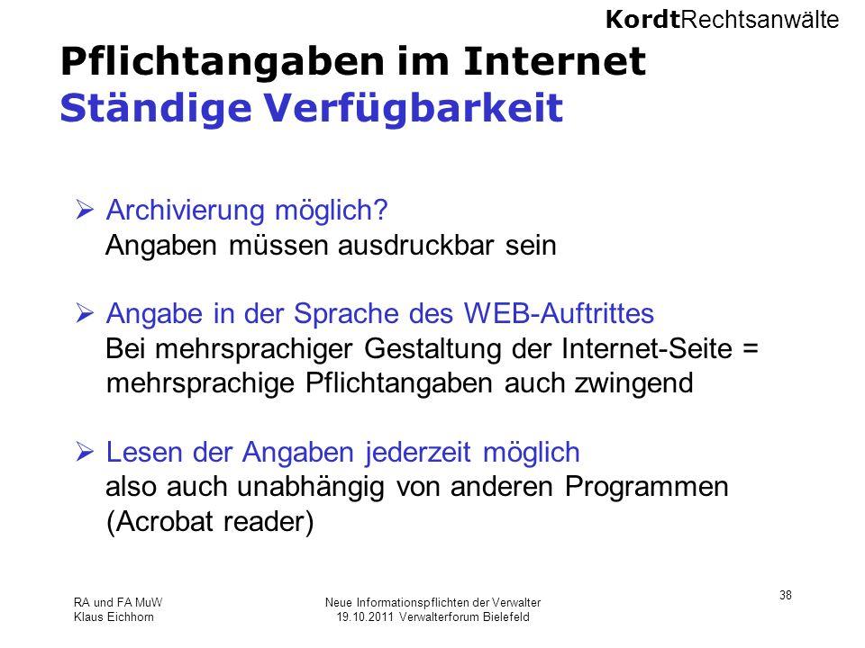 Pflichtangaben im Internet Ständige Verfügbarkeit