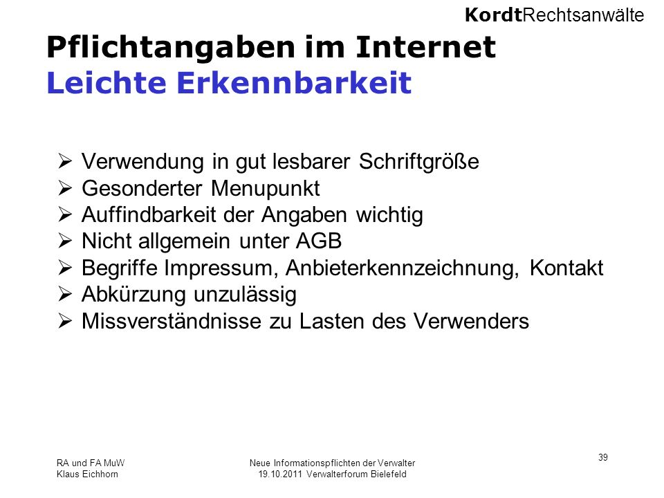 Pflichtangaben im Internet Leichte Erkennbarkeit