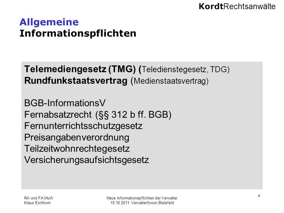 Allgemeine Informationspflichten