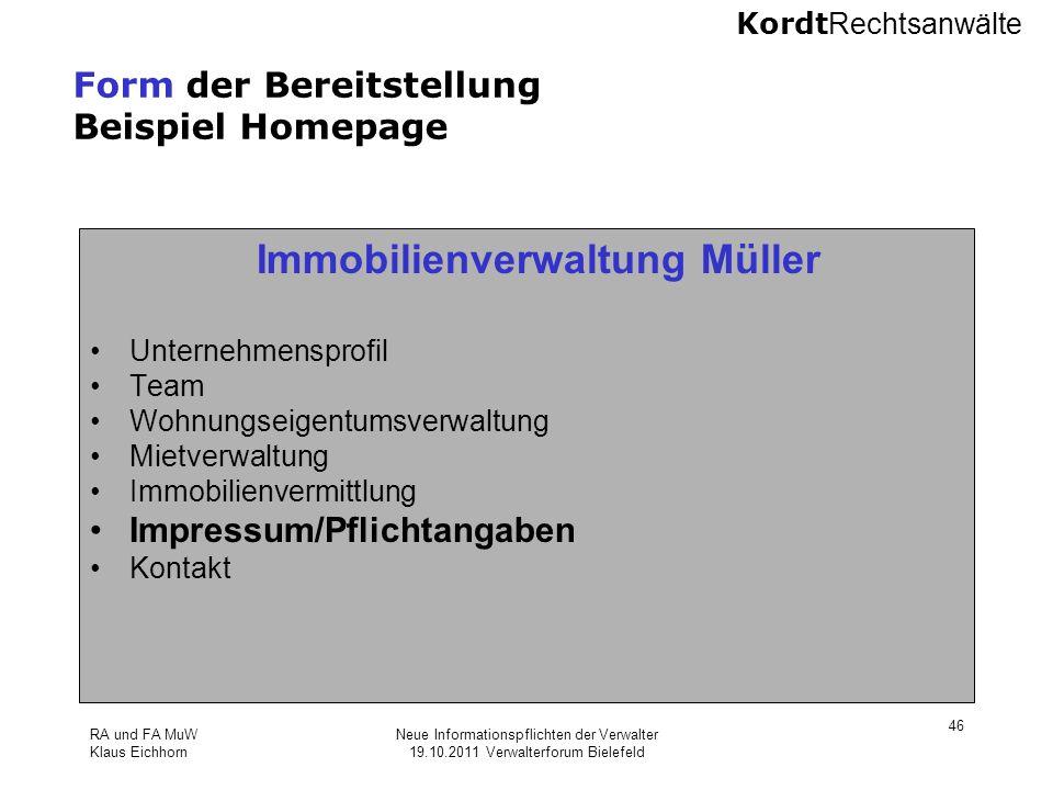Form der Bereitstellung Beispiel Homepage