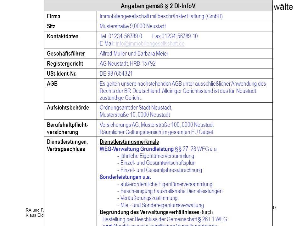 Angaben gemäß § 2 Dl-InfoV