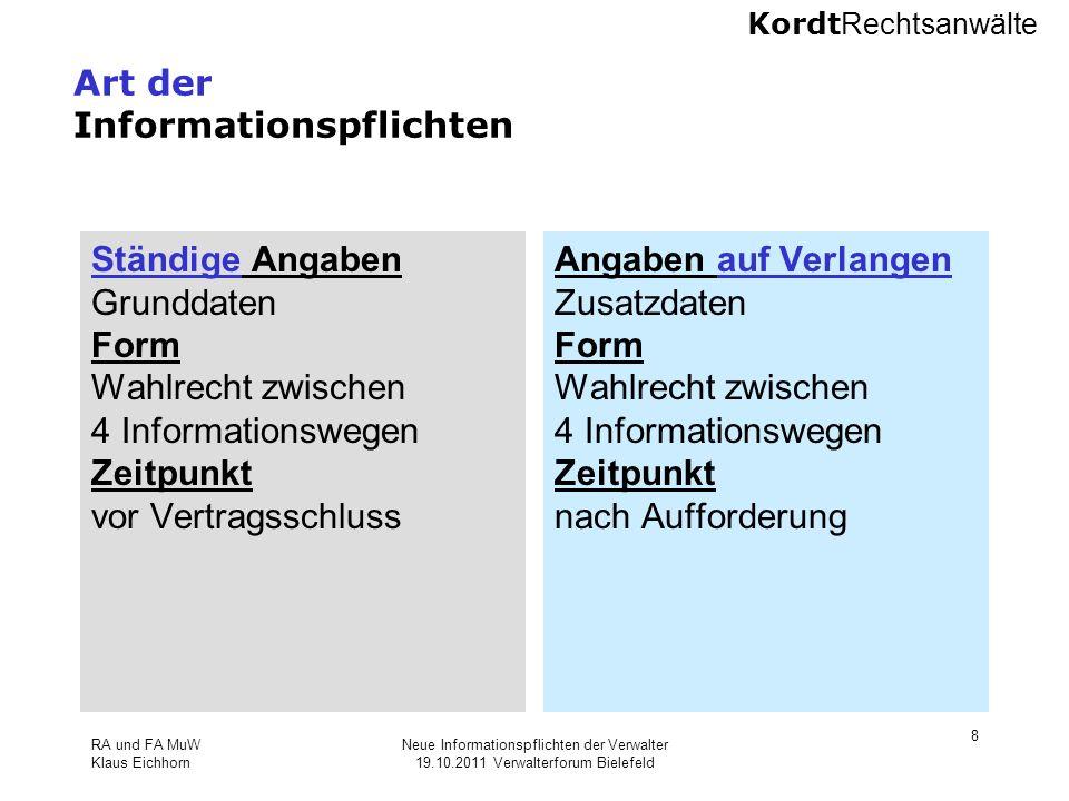 Art der Informationspflichten