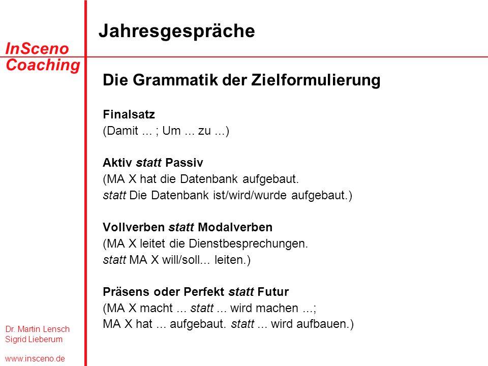 Die Grammatik der Zielformulierung