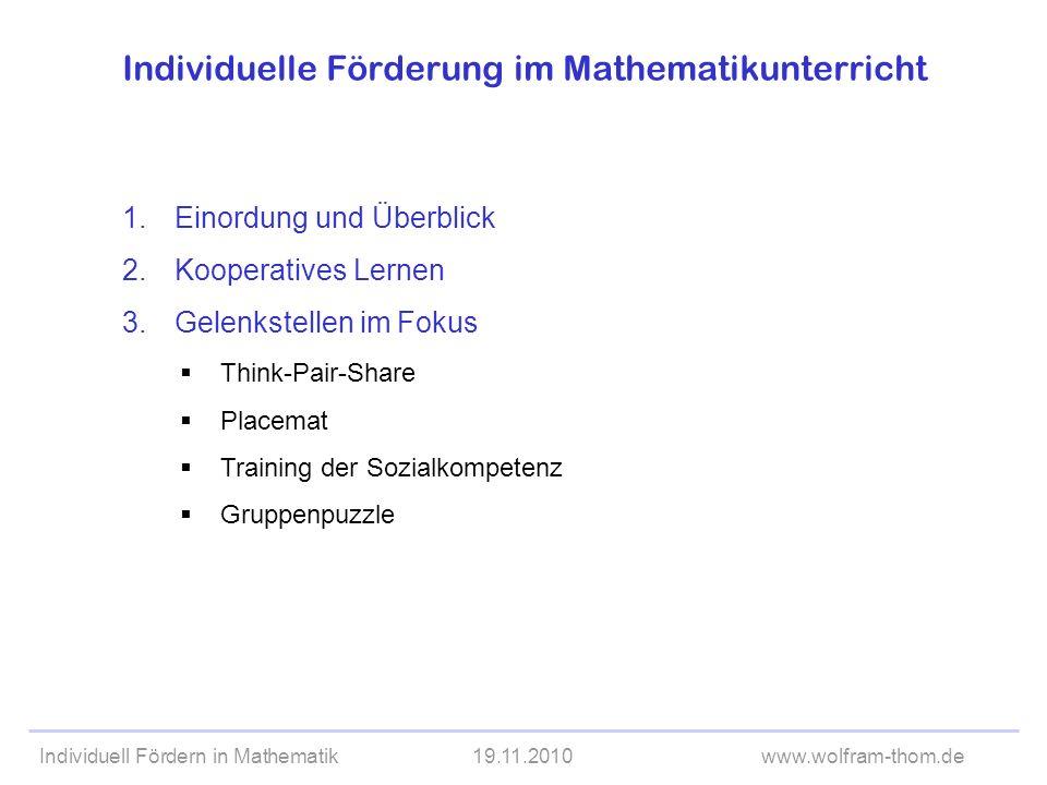 Individuelle Förderung im Mathematikunterricht